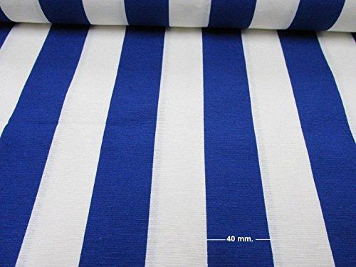 Weiß Blau gestreift Stoff–Sofia Streifen Vorhang Polster 280cm breit (Meterware) (Streifen-polster-vorhänge-stoff)