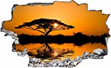 DesFoli Savanne Afrika Baum 3D Look Wandtattoo 70 x 115 cm Wand Durchbruch Wandbild Sticker Aufkleber C240