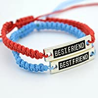 Steellwingsf 2 Pcs Fashion Men Women Craft Best Friend Print Bracelet DIY Wristband Gift (Sky Blue + Dark Red)