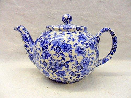 2Tasse Teekanne in blau Rose Chintz Design von Heron Cross Pottery.
