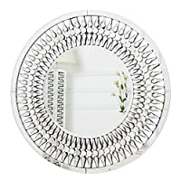 RICHTOP Wall Mirror Large Drop-shaped Crystal Mosaic Frame Round Wall Mounted Mirrors for Living Room, Bedroom, Hall, Hallway 70CM X 70CM