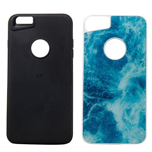 iPhone 6S Plus Hülle,iPhone 6 Plus Hülle,iPhone 6 Plus / 6S Plus TPU Silikon Hülle,ikasus® [Heavy Duty Serie] Marble Marmor Muster Hybrid Outdoor Dual Layer Armor Hülle Case Handy Schutzhülle für Appl Blau Marmor