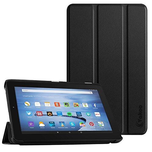 Kamera-tasche Ohne Fire Kindle (Vakoo Fire 7 2015 Hülle - PU-Leder Tasche Etui Smart Cover Case Schutzhülle für Amazon Fire 7 (7-Zoll-Tablet, 5. Generation - 2015 Modell), Schwarz)
