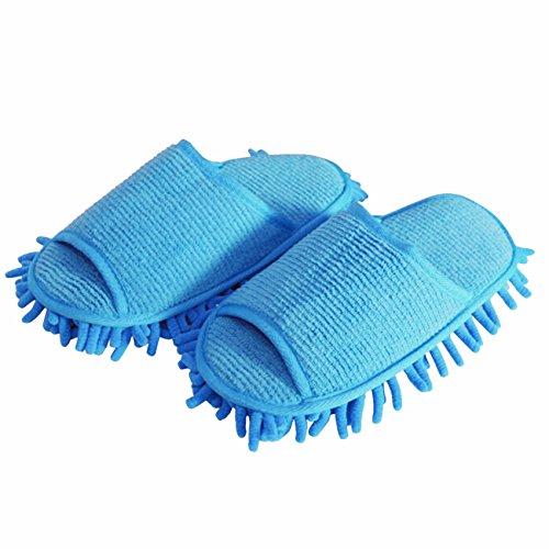 ShiyiUP Putzschuhe Putzpantoffel Staub Hausschuhe mit reinigender Mikrofaser Blau