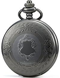 SEWOR - Reloj de Bolsillo clásico, Acabado Liso, Movimiento mecanizado a Mano, Viene en Caja de Regalo de Piel (Negro)