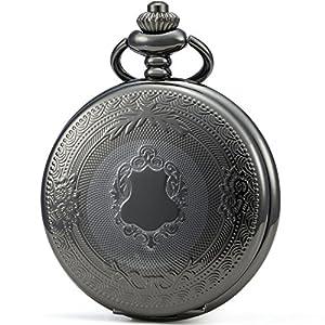 SEWOR Klassische Taschenuhr, gemustertes Gehäuse, Mechanisches Uhrwerk mit Handaufzug, Geschenkbox aus Leder