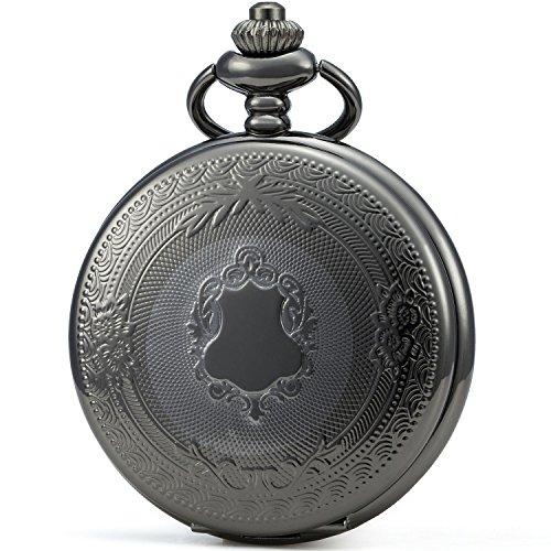 SEWOR Klassische Taschenuhr, gemustertes Gehäuse, Mechanisches Uhrwerk mit Handaufzug, Geschenkbox aus Leder (Schwarz)