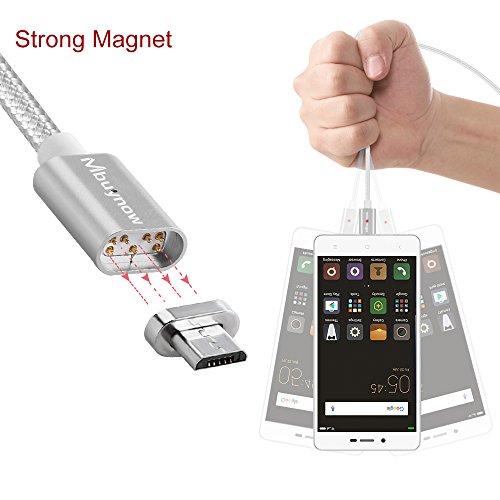 Cable Micro Usb Carga Rápida de Nilón   Mbuynow 3A/ 3.3 pies   Cable USB Micro Magnético USB Cargador Micro USB   Cable USB Sincro y Carga usb para Samsung LG Android Smartphone dispositivos (Plata)