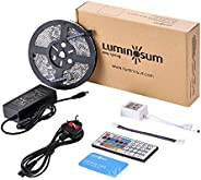 LUMINOSUM LED Strip Lights RGB Kit, 5M 300LEDs SMD5050 Waterproof, with 44-key IR Controller & DC12V 5A Po