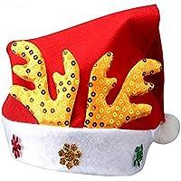 HEJIANGTAO Sombrero de Navidad niños en Terciopelo Dorado Cuernos no Tejidos, Gorra de Ciervo Dorada