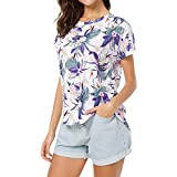 UFACE Kurzarm-Print Kurzarm Vorne Lange T-Shirt Frauen Casual Rundhalsausschnitt Batwing Kurzarm High Low Saum Lose Top (L, Lichtquelle Farbe)