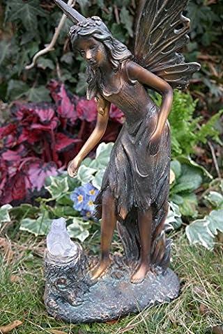 Elegant Fairy Standing with Solar Frog on Tree Trunk Fairy Fairy Garden Statue 40Cm