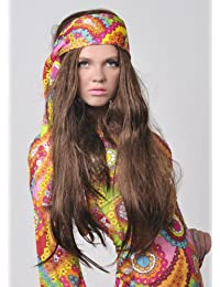 1970s Hippy Girl Fancy Dress Long Straight Brown Wig