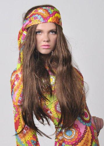 1970s Hippy Girl Fancy Dress Long Straight Brown Wig