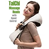 Variable Speed Taichi Rollers Deep Kneading Shiatsu Massager. Neck Massager/ Shoulder and Back Massager/ Foot Massager. Pain Relief Electric Massage Therapy Muscles Kneading Massager with Heat