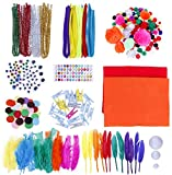 Kit per Lavoretti Creativi, Palla Pompon e Scovolini Pipa Ciniglia Steli per Mestiere Fai da te Decorazioni, Set Bricolage, Craft Kit per Hobby Creativi per Bambini, Diversi Materiali, Multicolore