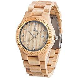 Uwood Handmade Wooden Watch Calendar function For Men's With Maple Wood