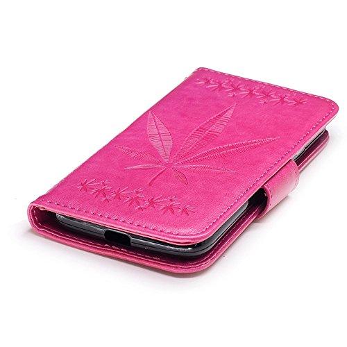 YHUISEN Geprägte Ahornblatt Design PU Leder Flip Wallet Stand Case Mit Card Slot Für Motorola Moto G4 Play ( Color : Brown ) Rose