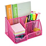 Mesh Desk Organizer, AGPtEK Office Supplies Set with 6 Compartments & 1 Drawer, Mesh Collection for School, Study & Work Use, Pink