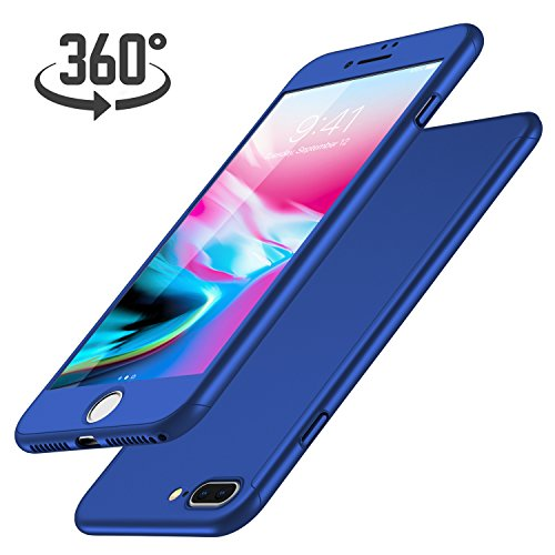 Cover iPhone 7 Plus + Proteggi Schermo Vetro Temperato, Luckydeer Custodia iPhone 7 Plus 360 Gradi Ultra Sottile Leggera Anti-Scratch Case iPhone 7 Plus Antishock - Blu (5,5 pollici)