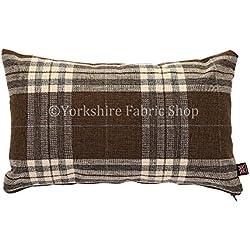 """Funda inspirado escocés Tartan Diseño de cuadros tejido cojín relleno cojines británico hecho a mano marrón color–Tamaño–50cm x 30cm rectangular–19""""x 12pulgadas"""