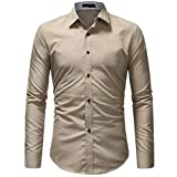 VEMOW Hot Selling Gentleman Herren Herbst Mid-Season Casual Formale Feste Slim Fit Langarm Tages Party Strand Business Kleid Shirt Top Bluse(Türkis, EU-50/CN-M)