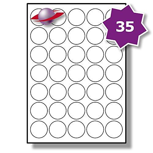 �tter, 350 Etiketten. Label Planet® A4 Runden Schlicht Weiß Matt Papier Etiketten Für Tintenstrahl und Laserdrucker 35mm Durchmesser, LP35/35 R. (Avery-etiketten-kreis)
