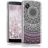 kwmobile Funda para Google Nexus 5 LG - Case de cristal para móvil en TPU silicona - Cover trasero de cristal Diseño sol indio rosa claro blanco transparente