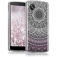 kwmobile Funda para LG Google Nexus 5 - Case para móvil en TPU silicona - Cover trasero Diseño Sol hindú en rosa claro blanco transparente