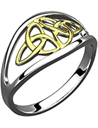 Sterling Silver Celtic Ring, 14K Gold Trinity Knot (Weight 3.42 gms) - 5