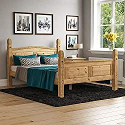 Vida Designs Corona Double Bed, 4 ft 6, High Foot End Bed Frame, Solid Pine Wood