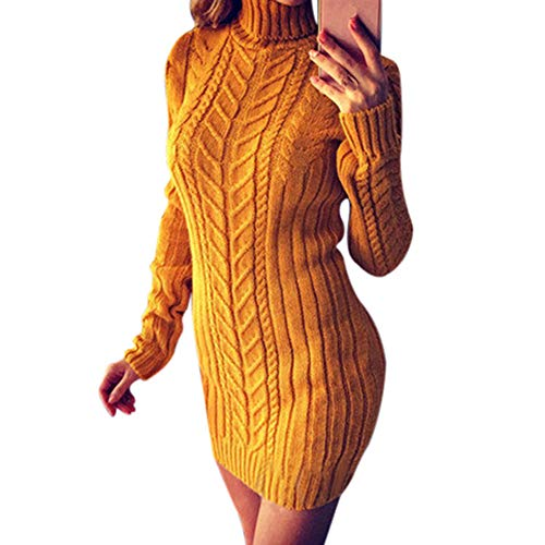 KEERADS Femmes Hiver Chaud Solide Tricot Col Roulé Rayure Twist Pull À Manches Longues Mini Robe Slim Pullover(M,Jaune)