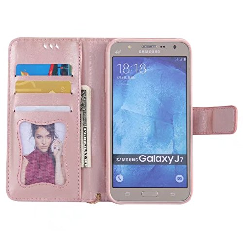 Horrizontal Folio Stand PU Ledertasche, Magnetverschluss Wallet Geldbörse Abdeckung Fall mit Lumious Shining Effekt & Lanyard für Samsung Galaxy J7 ( Color : Red ) Rose-gold
