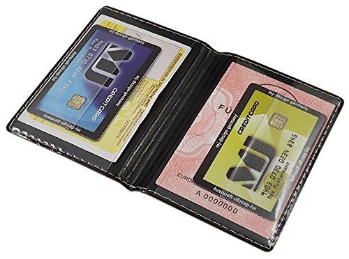 Porta carte d'identità e carte di credito con 4 scomparti MJ-Design-Germany Made in UE in diversi colori e designs (Design 1 / Nero) Design 3 / Bianco