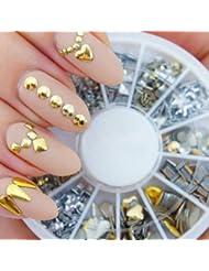 Boîte Carrousel Décorations 3D Nail Art Manucure Professionnelles Haute Qualité Avec Studs Métal Dorés et Argentés 12 Formes Différentes Par VAGA
