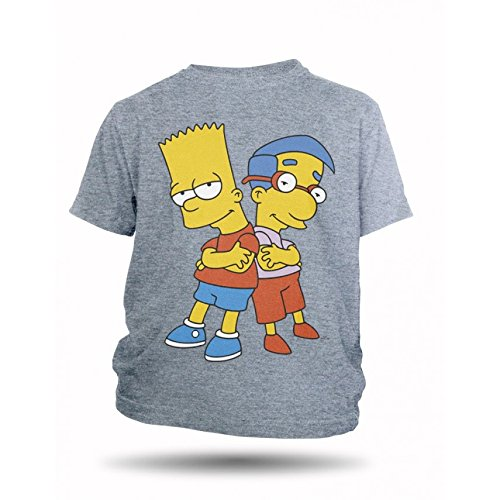 The Simpsons Bart und Milhouse Kinder T-shirt, 100% Baumwolle (Medium, Grau) (Tees T-shirts Simpsons)
