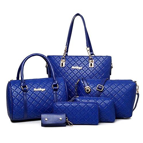 Greeniris Femmes Totes Faux Cuir Sac d'épaule 6 Ensemble Bleu saphir