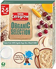 Nestle CEREGROW Organic Selection, Multigrain Cereal with Ragi and Mixed Fruits - From 2 to 5 Years, 200g Bag-