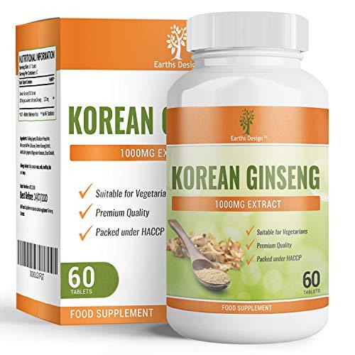 Korean Ginseng - 1000mg Ginseng Wurzel - 30:1 Extrakt - Maximal Potentes Nahrungsergänzungsmittel für Männer & Frauen - Geeignet für Vegetarier - 60 Tabletten (2 Monate Vorrat) von Earths Design - 60 Tabletten-designs
