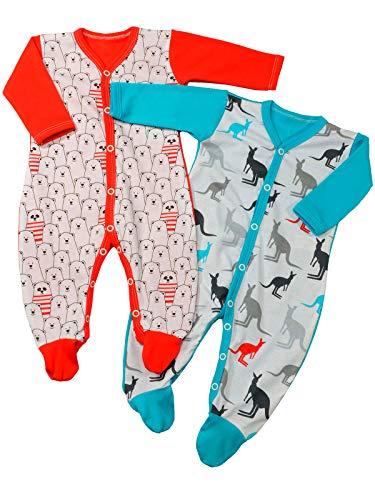 (Baby Mädchen Schlafanzüge (2er Pack) Bär Rot Känguru Blau 22816 Größe 68)