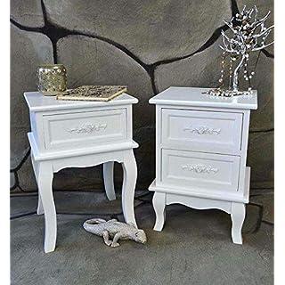 Livitat® Nachttisch Nachtschrank Nachtkonsole Nachtkommode Weiß barock LV4010 (1 Schublade)