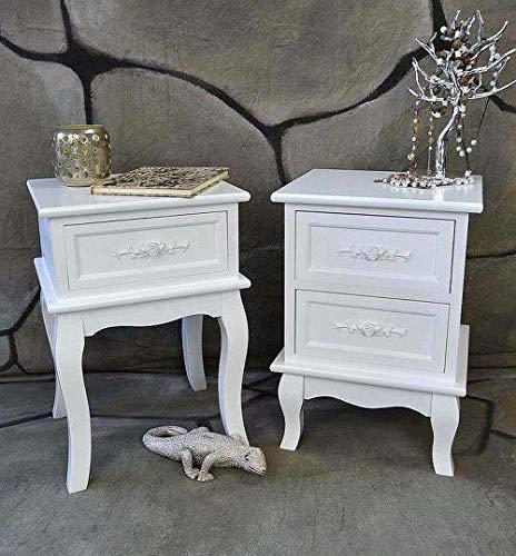 Livitat® Nachttisch Nachtschrank Nachtkonsole Nachtkommode Weiß barock LV4011 (2 Schubladen)