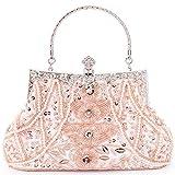 Damen Abendtasche Perlen,rosa Clutch Pailletten Brauttasche Handtasche Kettentasche Schulterketten für Party Hochzeit Theater