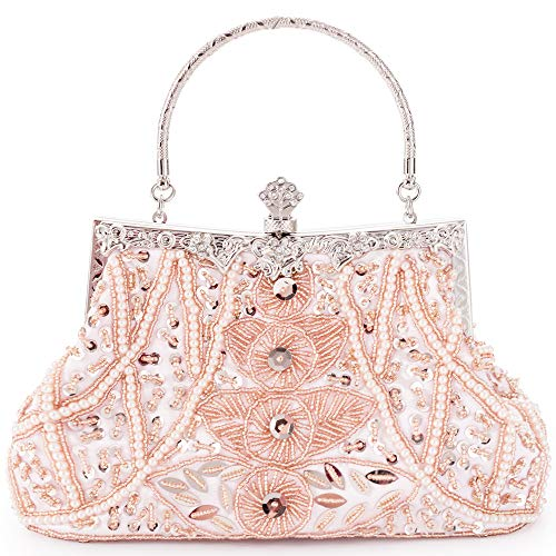 Damen Abendtasche Perlen,rosa Clutch Pailletten Brauttasche Handtasche Kettentasche Schulterketten für Party Hochzeit Theater -
