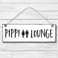 Pippi Lounge - Toilette Dekoschild Türschild Wandschild aus Holz 10x30cm - Holzdeko Holzbild Deko Schild zur Dekoration Zuhause im Büro auch perfekt als Geschenk Mitbringsel zum Geburtstag Hochzeit Weihnachten für Familie Freundin Mutter Schwester Tochter