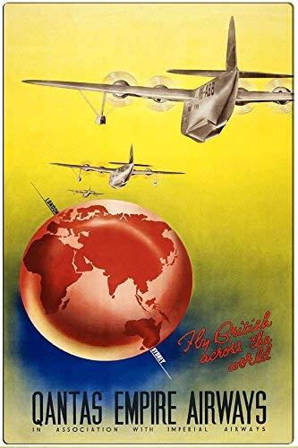 Toddrick 1938 Airline Qantas Empire Airways Zinn schicke Zeichen Vintage-Stil Retro Küche Bar Pub Coffee Shop Dekor 8