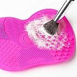 Xiton 1PC Strumento in silicone per la pulizia dei pennelli per cosmetici pulisci pennelli make up pennelli pulisci Portable Brush Cleaner con Scrubber e ventosa (Rose Red)