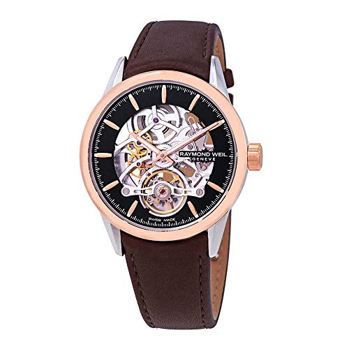 Montre Automatique Raymond Weil Freelancer Skeleton, PVD Or Rose, 42 mm, Noir