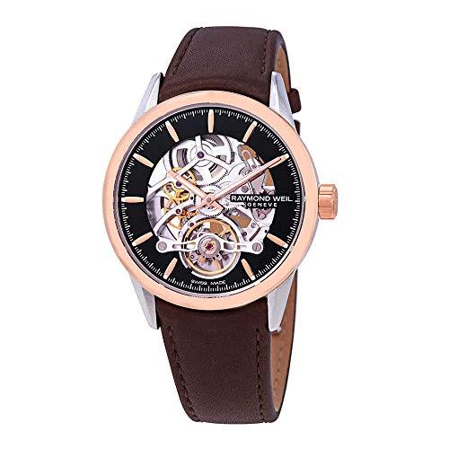 Raymond Weil scheletro orologio automatico, PVD oro rosa, 42mm, nero