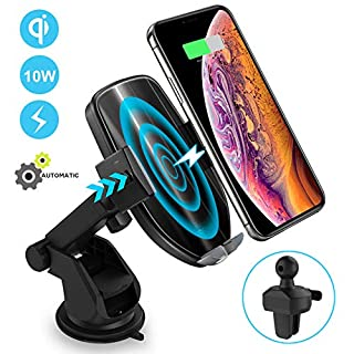 ODOMY Wireless Car Charger Mount, Auto Clamping 10W Fast Charging Qi Car Phone Holder Air Vent Dashboard Compatible with iPhone Xs/Max/X/XR/8/8 Plus,Samsung Note 9/ S10 /S10+/S9/ S9+/ S8/S8+